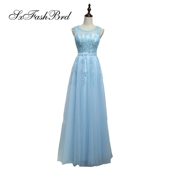 Dress Elegant Sexy O Neck With Appliques Tulle Long Party Formal Evening Dresses Gowns for Women Prom