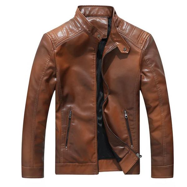 Осень и зима новый стенд воротник мотоцикла мужская PU кожаная куртка мужское пальто ветрозащитный стенд дизайн воротник