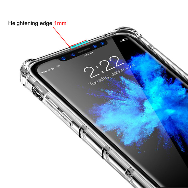 For iPhone X 5.8 inch Shock Absorption Bumper Stripe Design Full Protection Transparent TPU Camera Protection Phone Cover Cases Phone Shell
