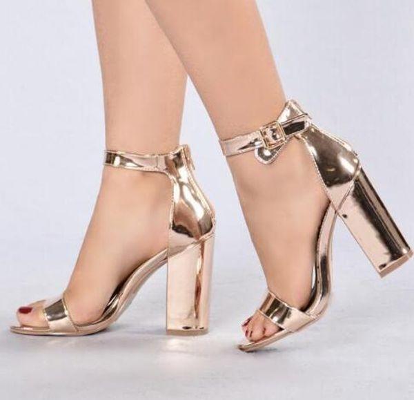 Femmes Rose Or Chunky Talon Sandales Sangle À La Cheville Épaisse Chaussures À Talons Peep Toe Strap À La Cheville Découpe Gladiateur Sandales Chaussures Habillées