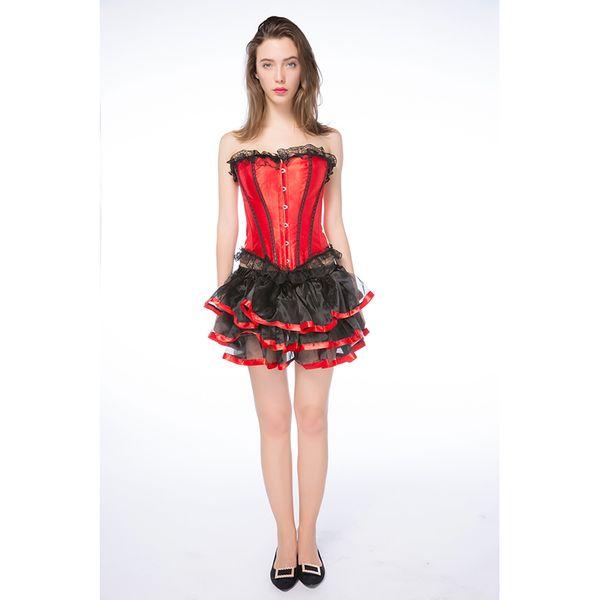 Kırmızı Lady Korse Etek Fantezi Elbise Cosplay Kostümleri Deguisement Seksi Cadılar Bayramı Kostüm Kadınlar Için