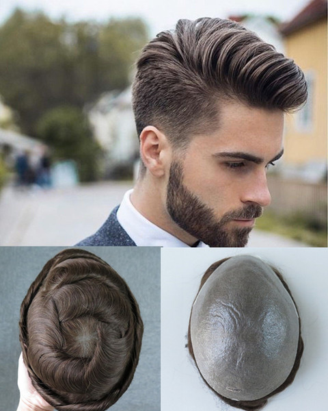 8X10 inch Full Pu Men Toupees Thin Skin Poly Human Hair Men Wigs Indian Hair NG #4 V-knot Hairpieces Replacement System