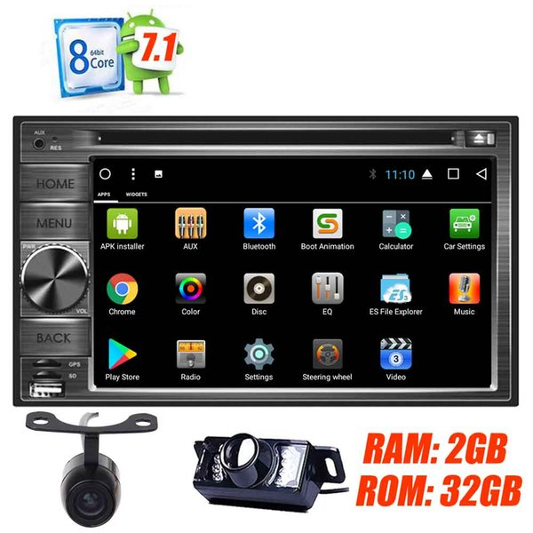 Dual Camera Android 7.1 Double Din OCTA Core Car Stereo 6.2'' Capacitive Touchscreen Car DVD Player GPS Navigation Auto Radio Receiver