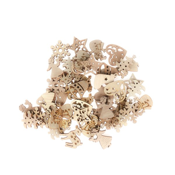 50Pcs Christmas Carve Natural Wood Chip Ornaments Decorations Pendant Ornament With Hole Scrapbooking Embellishments Crafts Gift