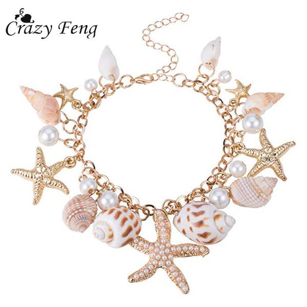 Crazy Feng 2018 Fashion Sea Shell Pulsera de mar para mujeres Summer Beach Charm Pulseras Bohemio pulsera de cadena Boho Joyería