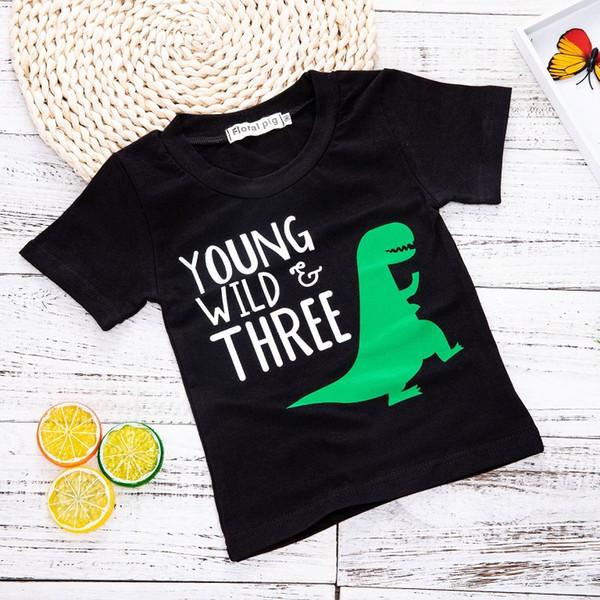 Little Boys Letter Dinosaur T-Shirts Cotton Summer Kids Boutique Clothing America Children Short Sleeves Tops Black T-Shirts for Boys