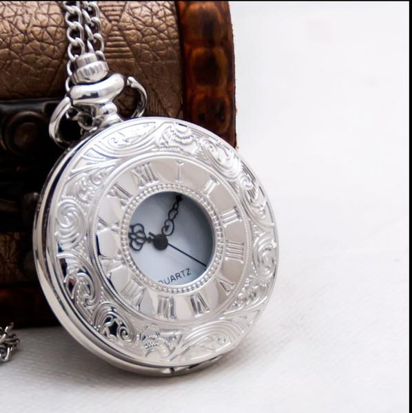 Quartz Popular Pocket Watch Silver Color Quartz Roman Numbers Watches with Necklace Pendant For Women Men Items Watch