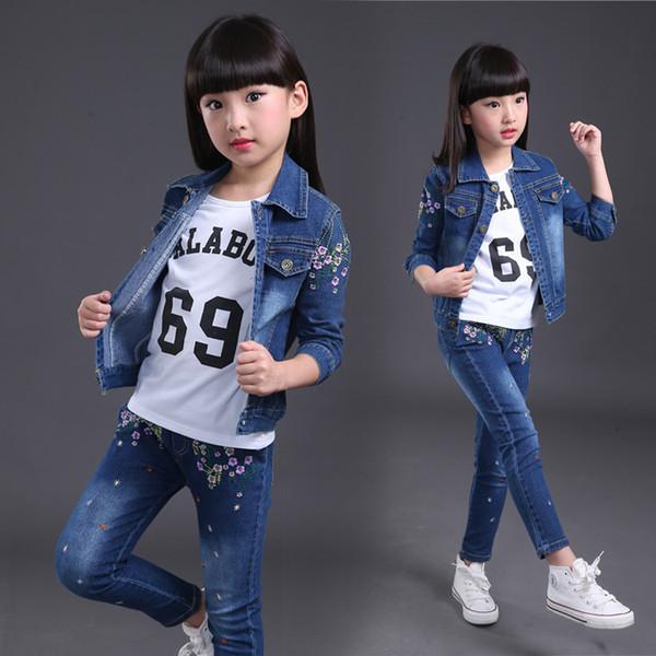 9477dbd3e38ca ropa de niña 2018 otoño niñas vaquero casual ropa deportiva abrigo + top +  pantalones conjuntos
