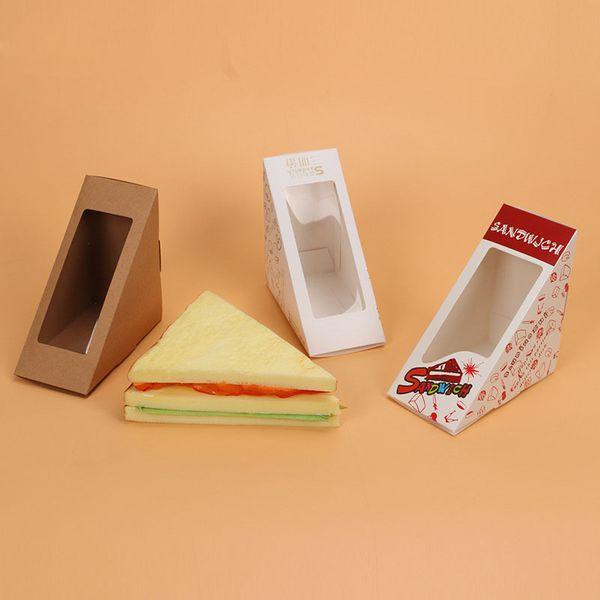 Scatola di sandwich con sandwich di carta di Windows Packaging per Fast Food Shop Restauran Imballaggio di carta usa e getta