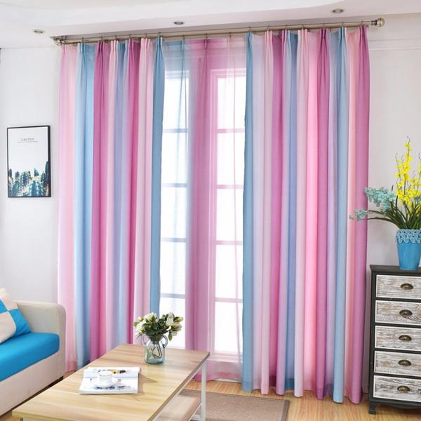 Nuovo design Colorful Rainbow Bella tenda di finestra Per salone 3D verde blu di Tulle Trattamenti di finestra elegante Cortinas Camera Draps