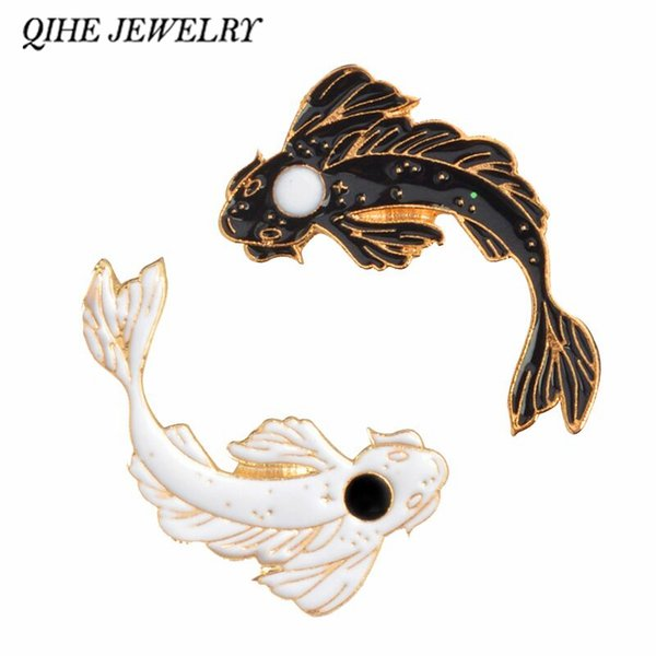 2019 QIHE JEWELRY Yin Yang Koi Pins Japanese Koi Fish Goldfish Hard Enamel  Lapel Pins Badges Brooches Animal Clooection From Wonderliu, $33 17 |