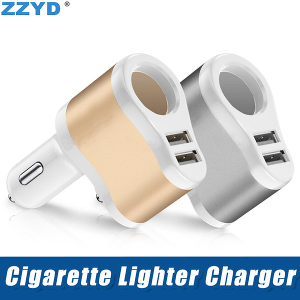 ZZYD 5V 3.1A 2USB Car Charger with Cigarette Lighter Interface Metal Charging for iP8 Xs Max Samsung S8 Note9