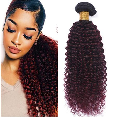 #1B/99J Wine Red Ombre Virgin Indian Human Hair Bundles Kinky Curly 4Pcs Black and Burgundy Ombre Human Hair Weaves Extensions Double Wefts