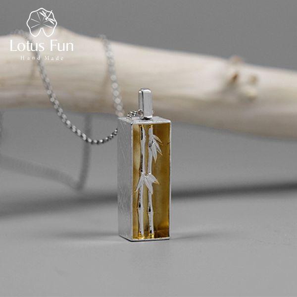 Lotus Fun Real 925 Sterling Silver Handmade Fine Jewelry Sens du Printemps Bamboo Pendentif sans Collier pour Femmes