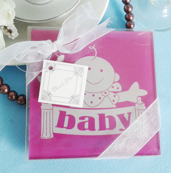 FEIS hotsale romantic lovely baby 2PCS glass coaster tablemat baby shower wedding favor party companyInauguration & Anniversaries gifts