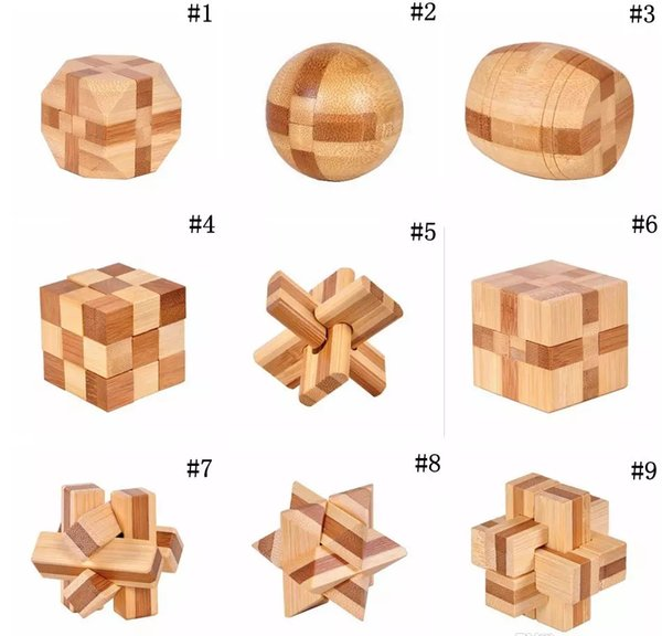 IQ Brain Teaser Kong Ming Lock Wooden Interlocking Burr 3D Puzzles Game Toy EC