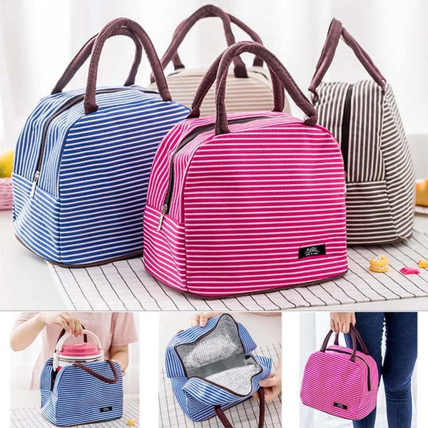 Brand Striped Food Fresh Keep Lunch Box Bag Polyester Waterproof Picnic Travel Storage Thermal Insulated Fashion Lunch Box Bags