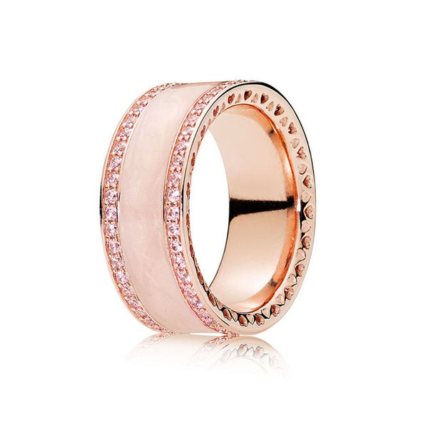 Authentic 925 Sterling Silver Ring Rose Pink Hearts Of Band Rings With Crystal For Women Wedding Party Gift Fine Europe Jewelry