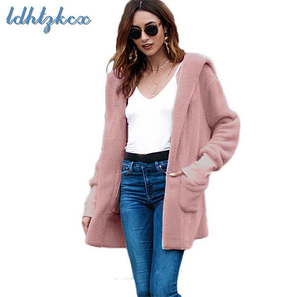 Woolen Coat Women 2018 New Winter Jackets Europe America Streetwear Long Loose Open Stitch Hooded Coats Clothing Feminino CX566