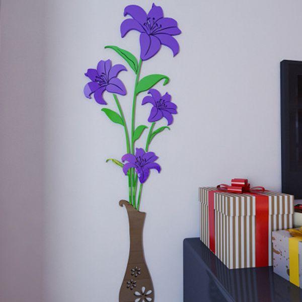 Vase Plum Flower 3d Three-dimensional Crystal Acrylic Wall Stickers Living Room Sofa Bedroom TV Backdrop Decoration