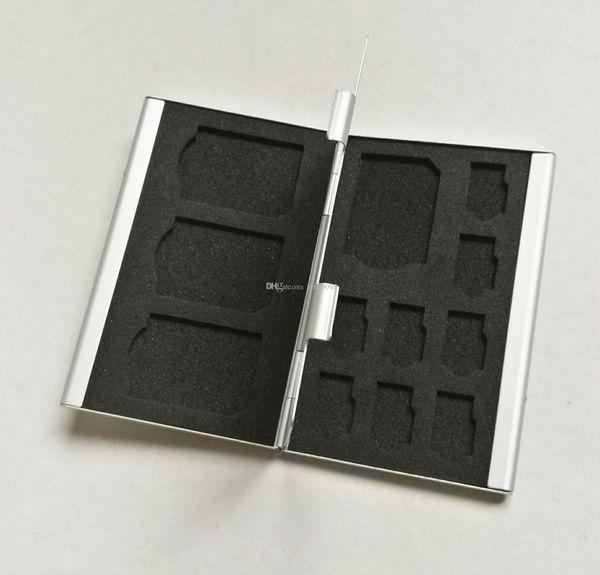 Titular portátil Case Deck liga de alumínio 8TF + 4SD cartões de memória titular da caixa de armazenamento para 4pcs cartão SD + 8pcs TF cartão (cartão Micro SD)