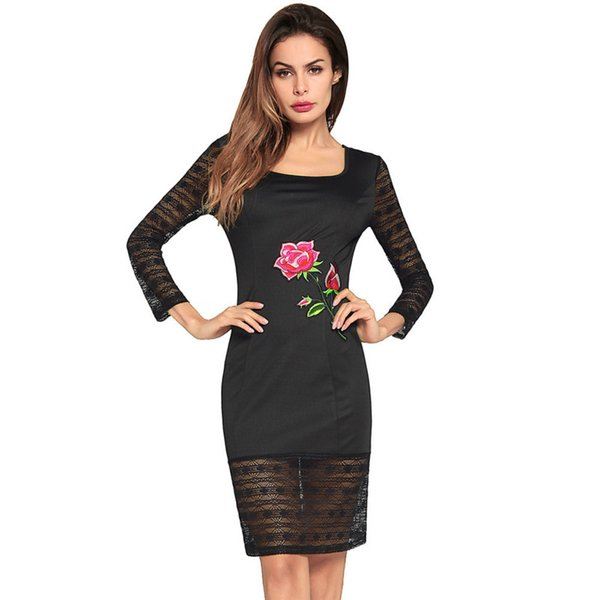 Sexy Lace Night Club Dresses Women Solid Long Sleeve Split Tight Cocktail Dresses Red Black Plus Size Dress