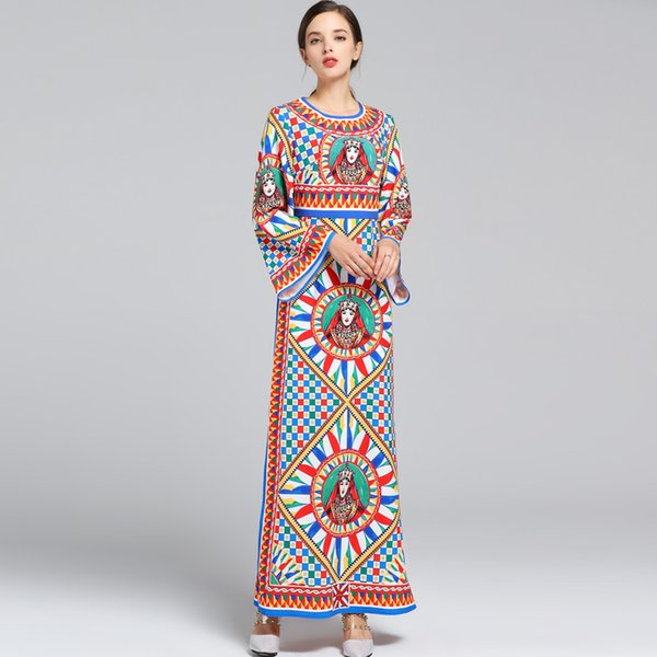 Nuovo arrivo 2018 donne O collo maniche lunghe Vintage stampato Side Split Fashion High Street Runway Abiti