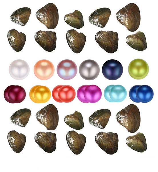 top popular Wholesale About 25 color natural Freshwater Whole Pearls Oyster,Mixed color Freshwater pearl vacuum packaging Whole Oyster Shell 2020