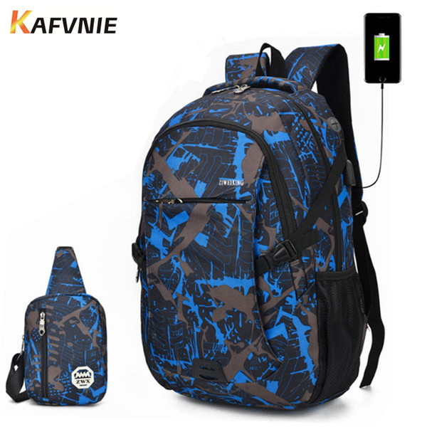 2 in1 school backpack male backpack chest bag set boys one shoulder big student multi-piec bag men women camouflage thumbnail