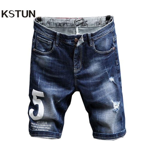 KSTUN mens jeans shorts en denim hip hop slim fit stretch bleu déchiré jeans pantalons pour hommes peur de dieu roupas short masculino