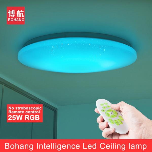 BOHANG 2018 NEW Modern LED Ceiling Light 25W Smart Remote Control Dimmable Color Changing Lamp For Livingroom Bedroom AC165-265V