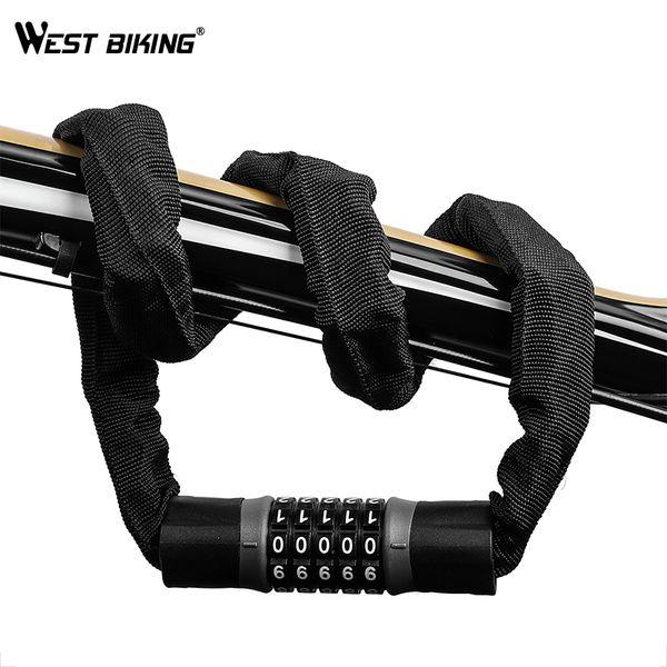 WEST BIKING Durable Bicycle Cable Lock Steel High-strength 5 Password Coded Anti-theft Locks 0.9m/1.2m/1.5m MTB Road Bike Lock