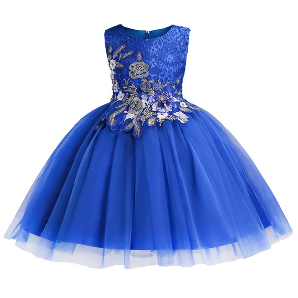 Flower girl dress new year clothing lace embroidery party female baby sleeveless princess wedding party children clothes