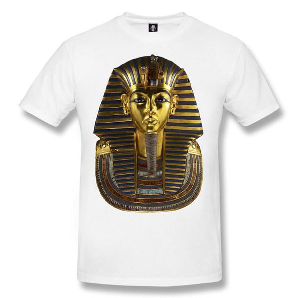 Neue Tutankhamun Pharao Sublimation weißes T-Shirt / Mama / Maske / ägyptisch / Geschenk / Top O-Neck Mode gedruckt Herren Baumwoll T-Shirt