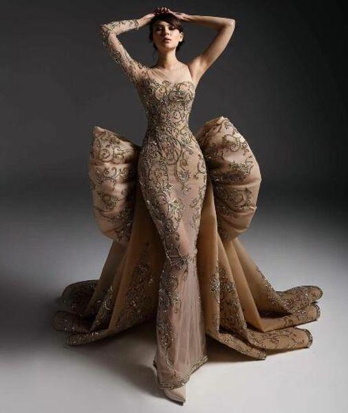 Abito da sera kardashian Abito lungo con perline Bow Tulle con scia Mermaid Yousef aljasmi Kylie Jenner Zuhair murad zap