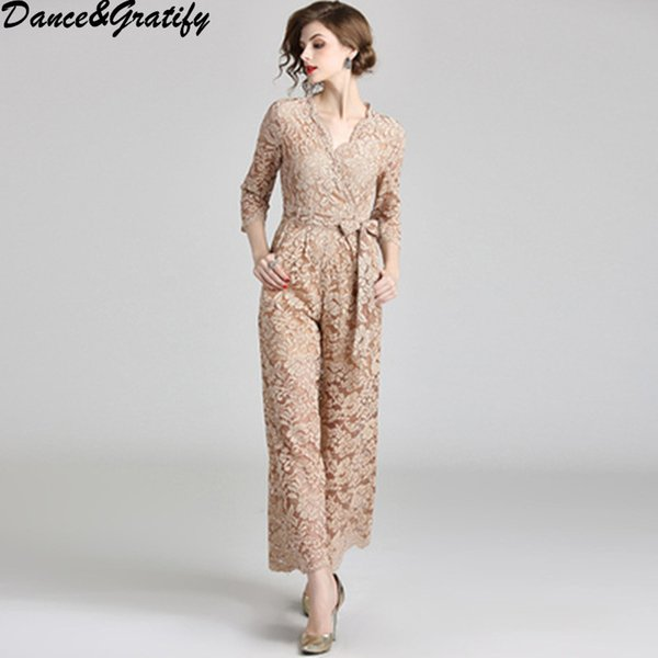 Autumn New Women Lace Crochet Wide Leg Jumpsuit Belted Slim Fit Three Quarter Sleeve Rompers Elegant Ladies Party Bodysuits