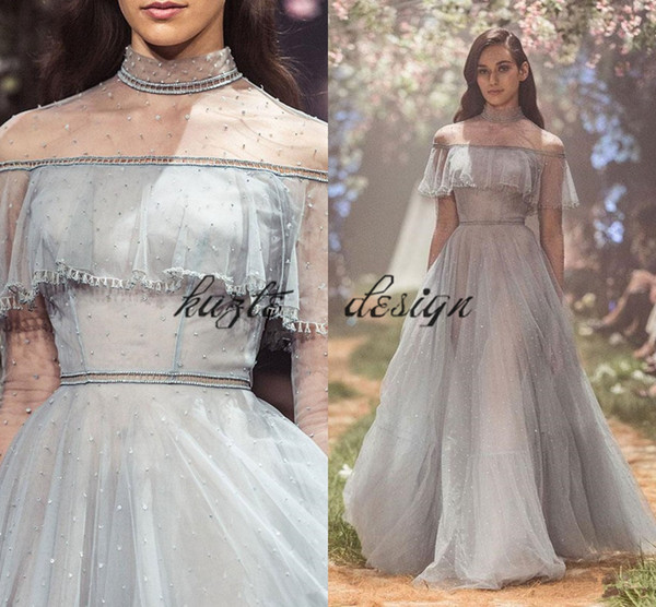 Paolo Sebastian Sequined Prom Dresses Sheer High Neck Beaded Evening Gowns With Long Sleeves Vestidos De Fiesta A Line Formal Dress