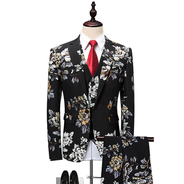 Floral Suit Men 2018 Latest Coat Pant Designs Wedding Suits for Men Plus size 4XL 5XL 6XL Slim Fit Mens Party Prom Suits