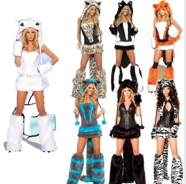 Nuove vendite Sexy costumi animali per le donne uniformi di Halloween Costume sexy gatto grandi code leopardo Party Dance Cosplay