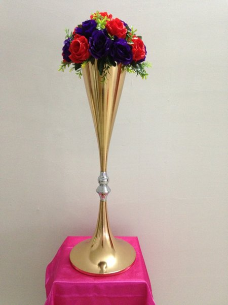 Hot Sell 70cm Flowers Vases Display Flower Stand Candle Holders Road Lead Table Centerpieces Metal Gold Stand wedding flower stand LASSOCK08