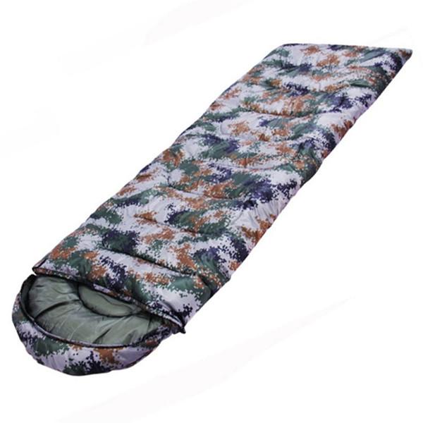 Outdoor Camping Hiking Sleeping Bag Warm Envelope Hooded Winter Sleeping Bags Three Seasons Camouflage Travel Sleep Bag AA52016