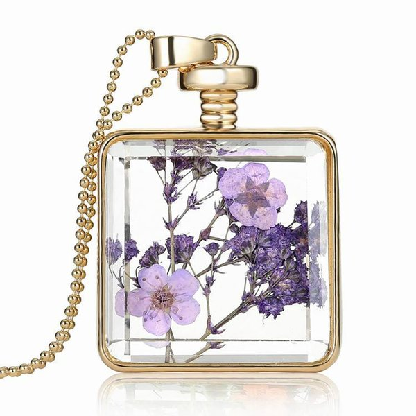 Dried Flower Necklace , Europe America Square Gold Crystal Pendant Alloy Specimen Clavicular Chain Transparent Glass Photo Box Jewelry Women