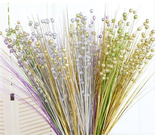 Golden Silver Glitter Bling Beads Fiore artificiale Gambi dorati Simulazione Fiori Fai da te Branch Cerimonia di nozze Decorazione 2ys gg