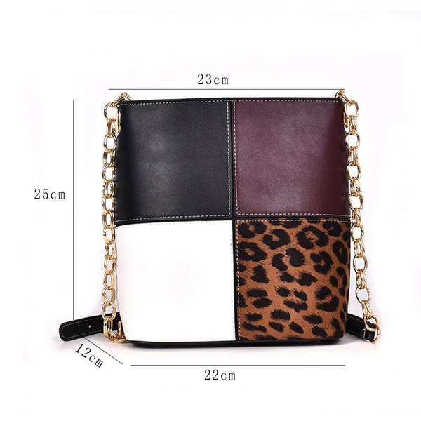 Fashion Contrast Color Bucket Bag High Capacity Chain Shoulder Cross-body Bag Top Quality Pu Messenger Belt Bucket For Women