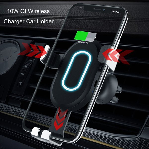 NEW 360 Rotation 2in1 Clamping Type 10W QI Wireless Charger Car Mount Holder For iPhone X 8 Samsung Note8 S8 Safe Durable Alloy