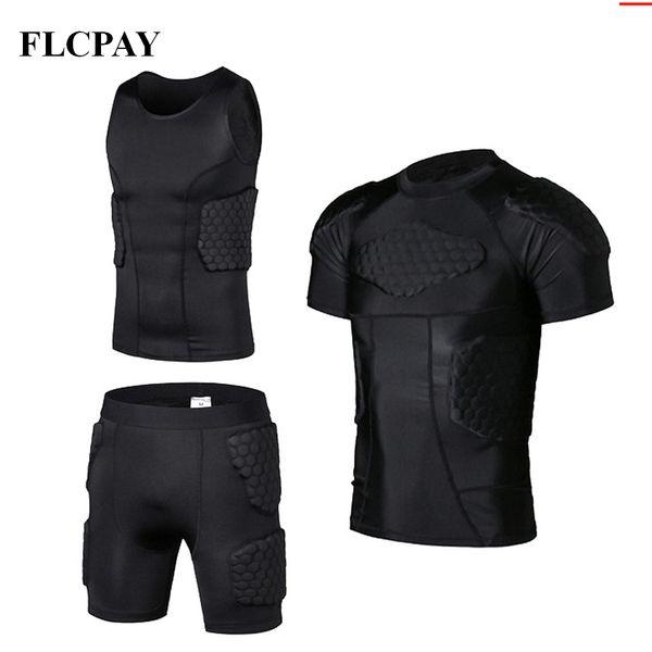 New Honeycomb Sports Safety Protection Gear Futebol goleiro Jersey + Shorts + coletes de futebol ao ar livre acolchoado Protector Gym roupas