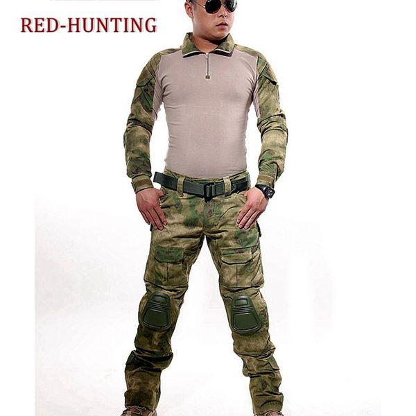 acu cp fg tactical camouflage uniform clothes suit men us army clothes combat shirt + cargo pants knee pads thumbnail