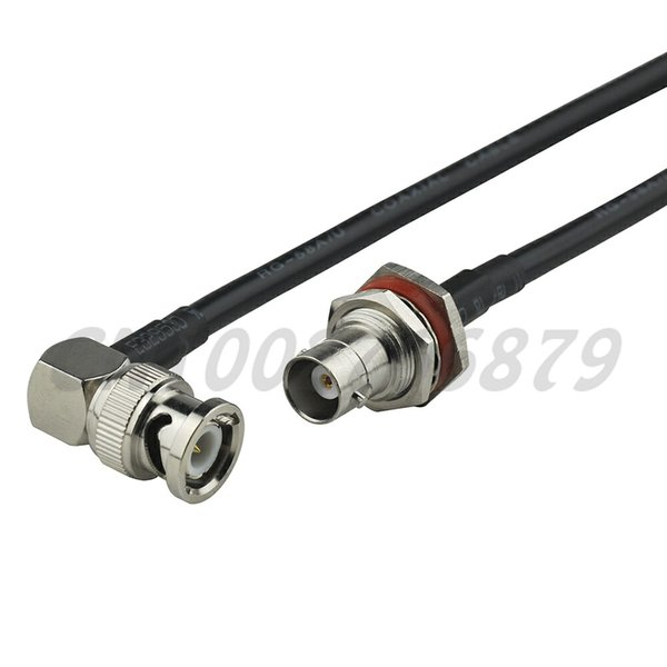 1.6ft 50cm RF BNC Jack bulkhead with O-ring to BNC Plug male Right Angle RG058 Pigtail Cable Antenna Feeder cable assembly