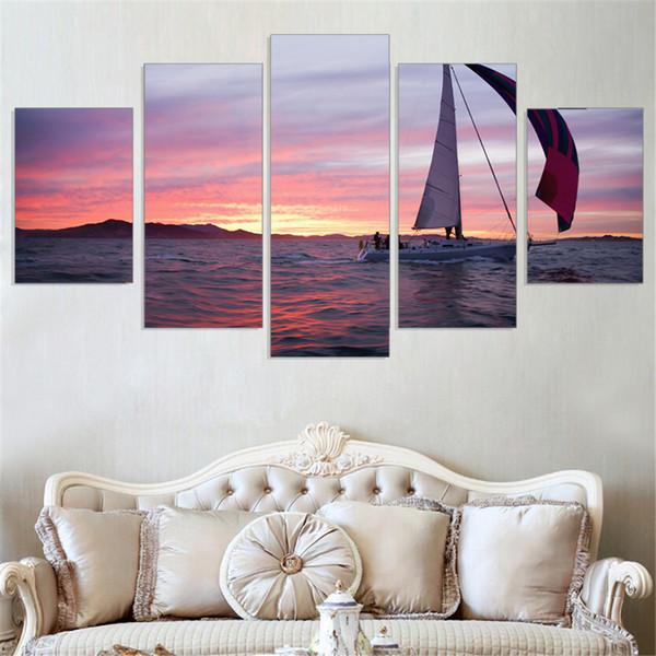 Hot Sale Real Paper Irregular Landscape Unframed Sunset Picture Setting Sun Sailing Wall Home Decor Modern Modular 5 Pcs