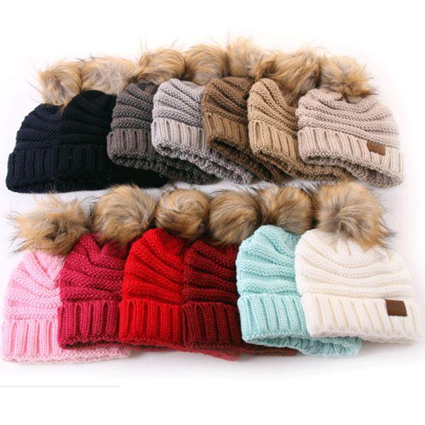 Bonnets Enfants CC Bonnets Hiver Chapeaux Tricotés Chauds Capuche CC Skullies Casquettes Avec Ball